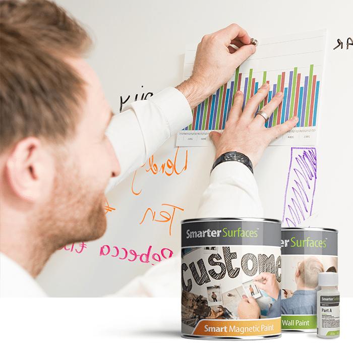 Mann befestigt Papiere an magnetischer Whiteboard Wand 1