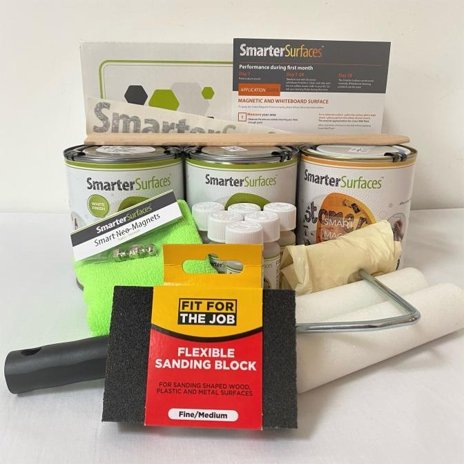 Smart-Magnetische-Whiteboard-Farbe-Weiss-komplettes-Kit-mit-Box-und-Anwendungsanleitung