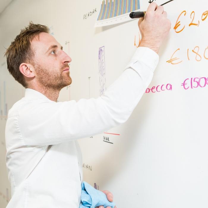 Smart Magnetische Whiteboard Farbe Weiß Verwendung Mann schreibt auf Wand