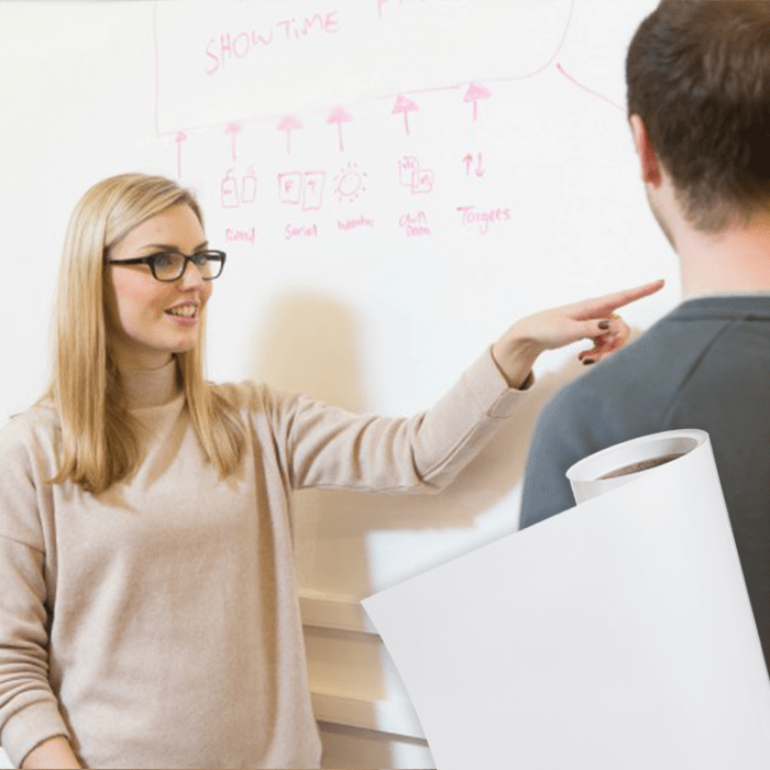 Smart Whiteboard Tapete Kombination Produktbild und Produkt installiert