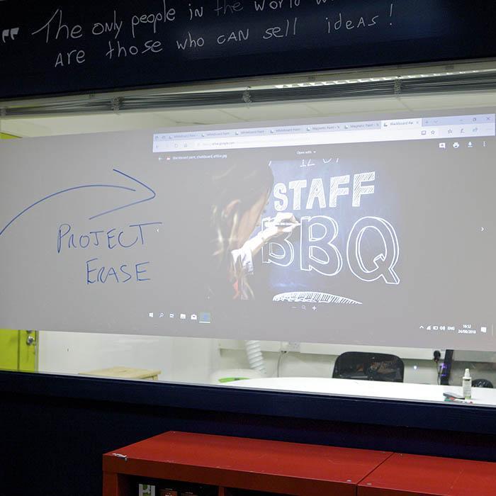 Smart 2 in 1 Whiteboard und Projektor Folie selbstklebend beschreibbar projizierbar